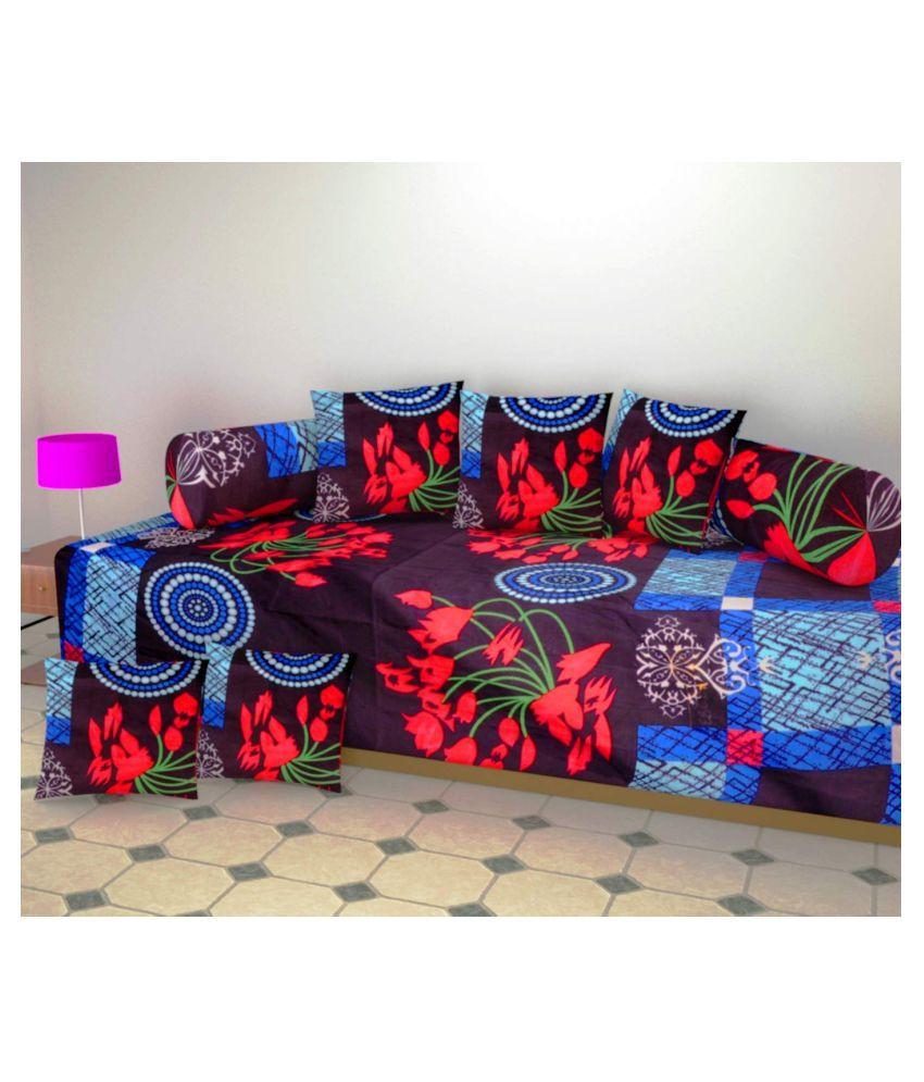 luvnoor handloom Poly Cotton Multi 3D Print Diwan Set 8 Pcs