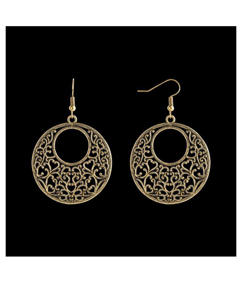 Silver Shine Premium Golden Antique Hollow design Earrings for Women