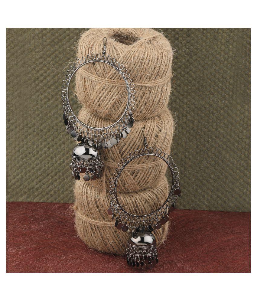 Silver Shine Stylish Party Wear Silver black jumki Dangle Earrings For Women Girl