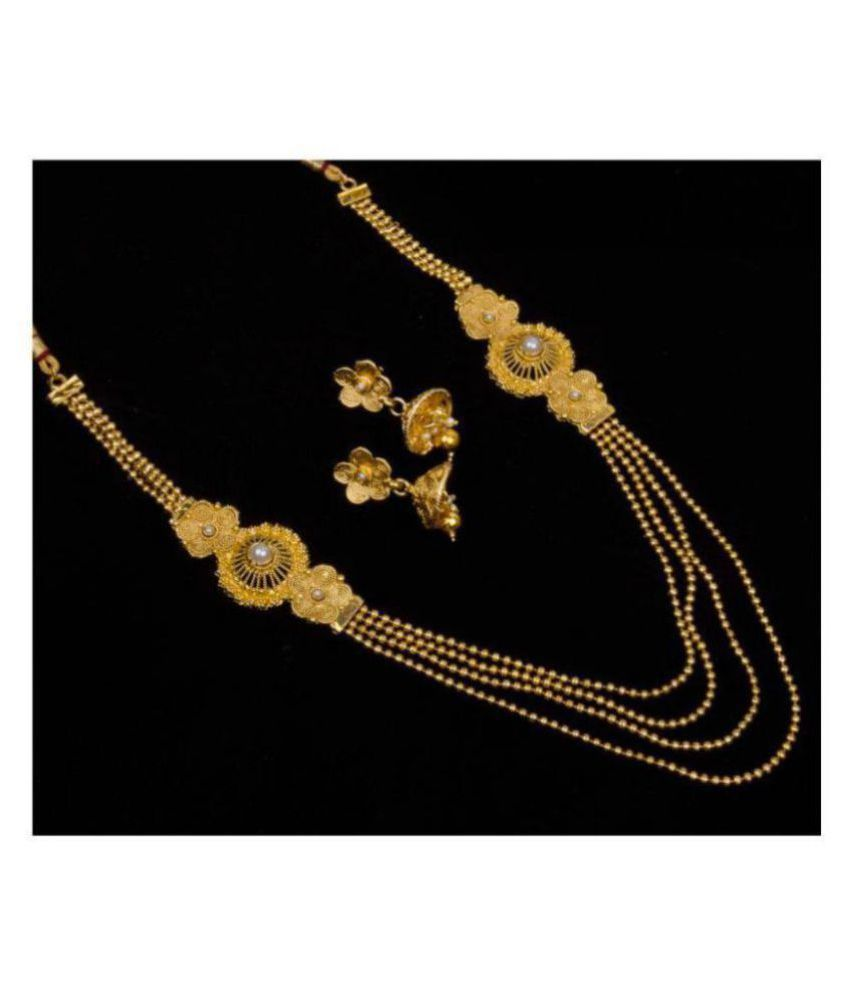 Piah Alloy Golden Traditional Necklaces Set Long Haram