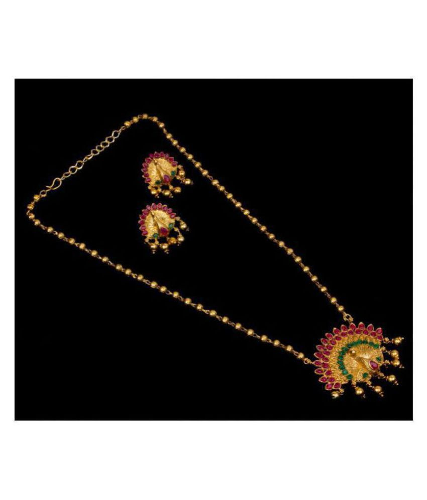 Piah Alloy Golden Long Haram Traditional Gold Plated Necklaces Set