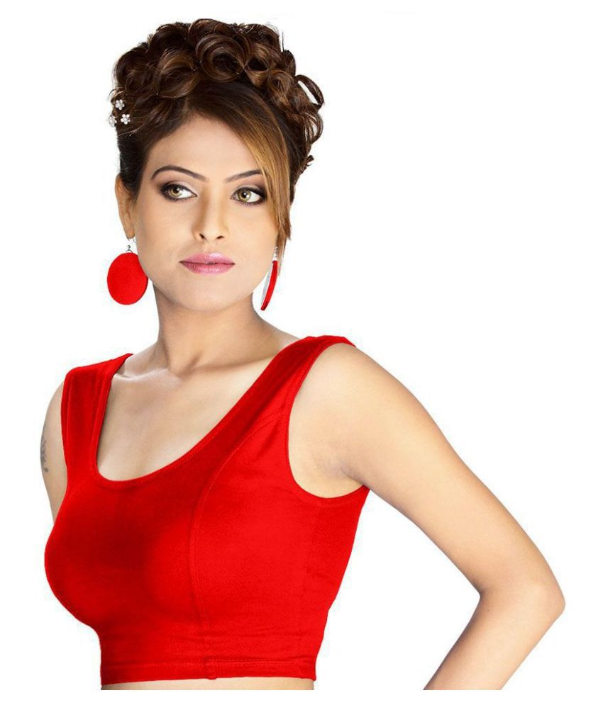 ABHI Red Cotton Readymade without Pad Blouse