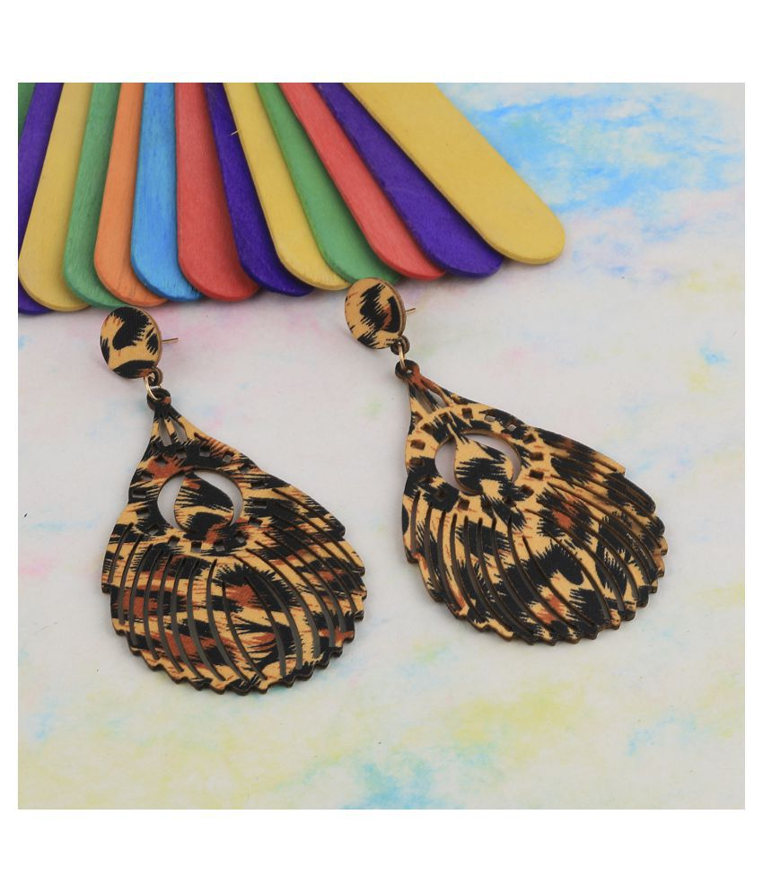 SILVER SHINE Stylish Light Weight   Wooden Earrings For Girls and Women