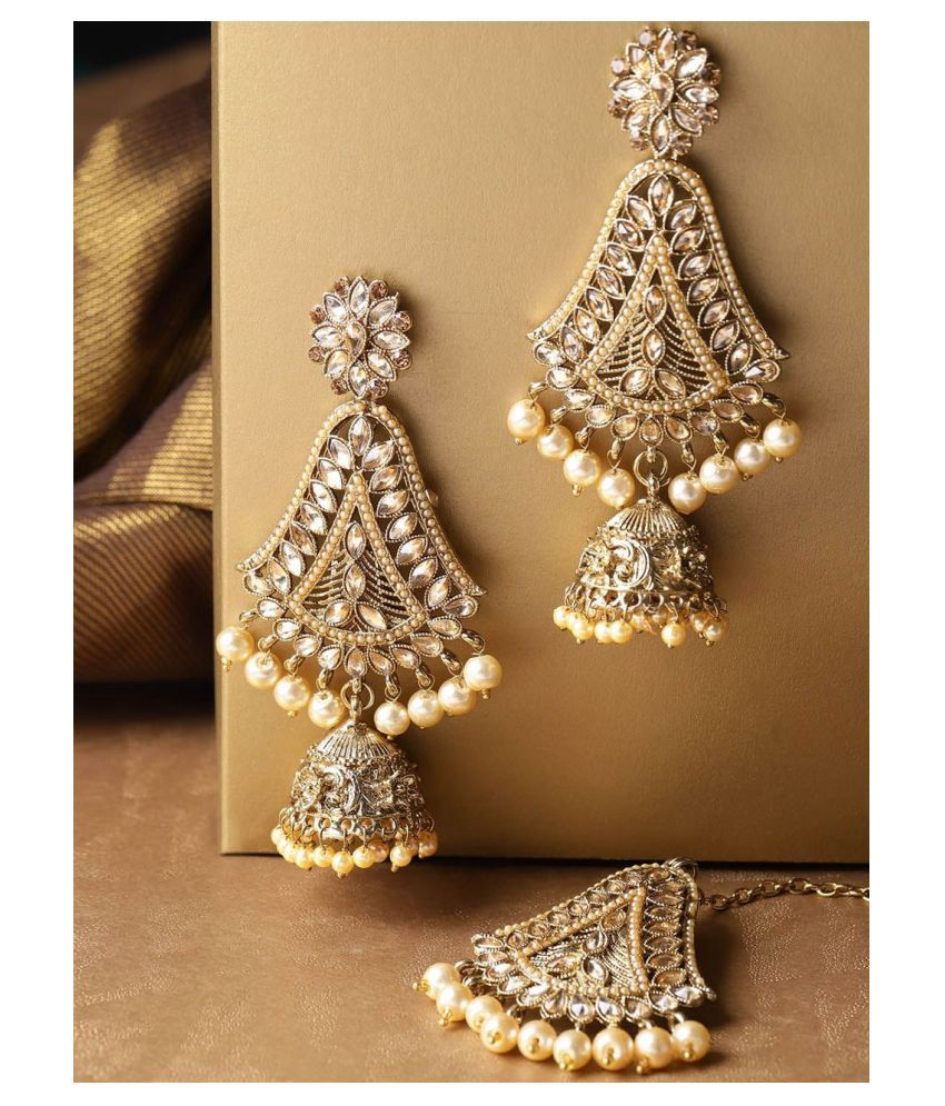 Priyaasi Gold-Plated Earrings and Maangtika Set with Artificial Stones for Women and Girls