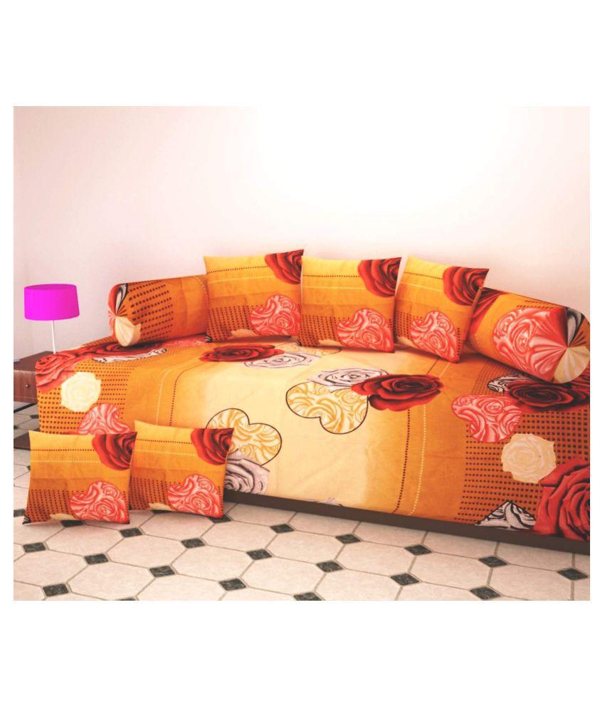 AM TEXTILES Poly Cotton Multi 3D Print Diwan Set 8 Pcs