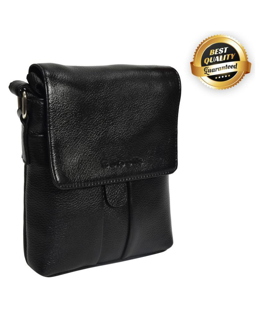 bubulls SLING BAGS Black Leather Office Messenger Bag