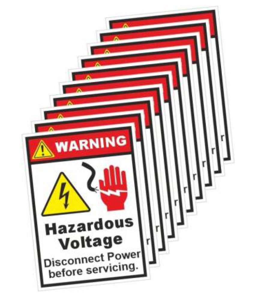 Warning Sign with Hazardous Voltage Disconnect Power Sticker Pack of 10