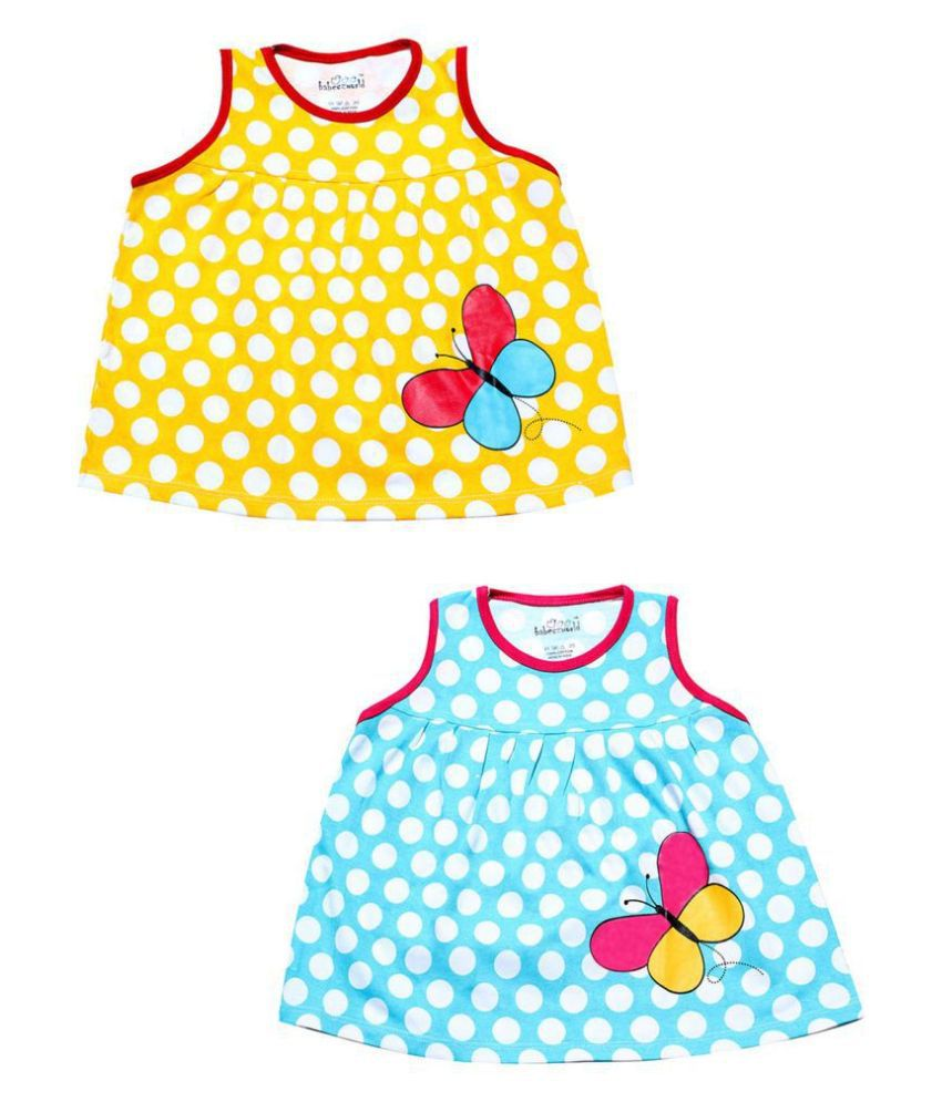 Babeezworld Baby Girl's Printed Cotton Sleeveless Frock Dress (Pack of 2)