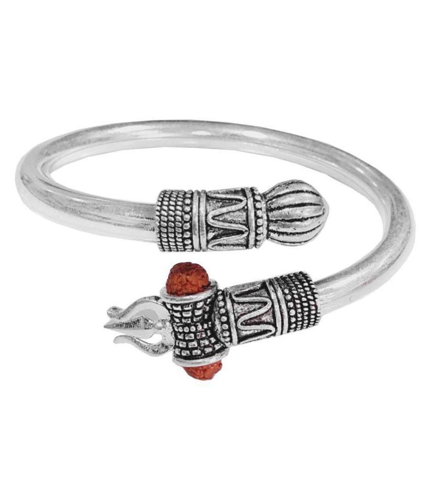 Men Style Chhatrapati Shivaji Maharaj Adjustable Silver Brass Cuff