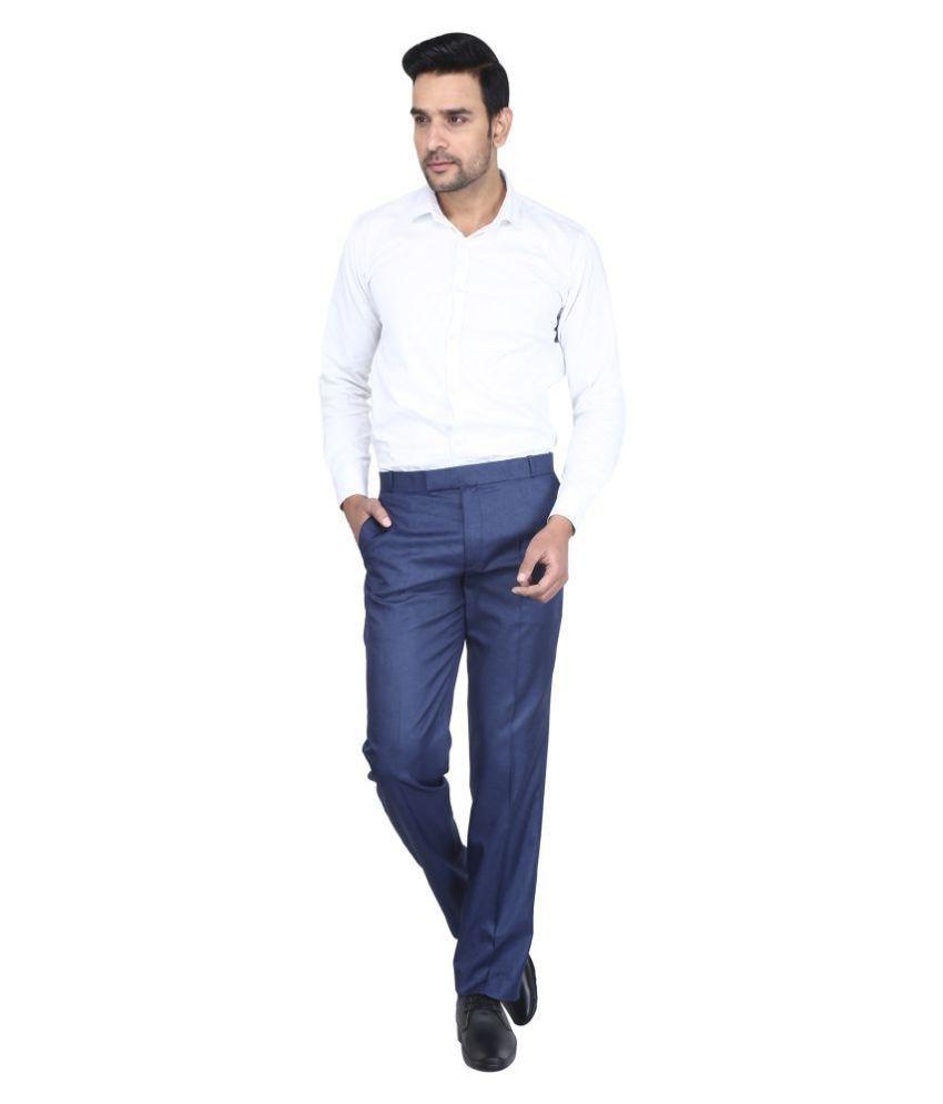 K.S.BRAND Blue Regular -Fit Trousers