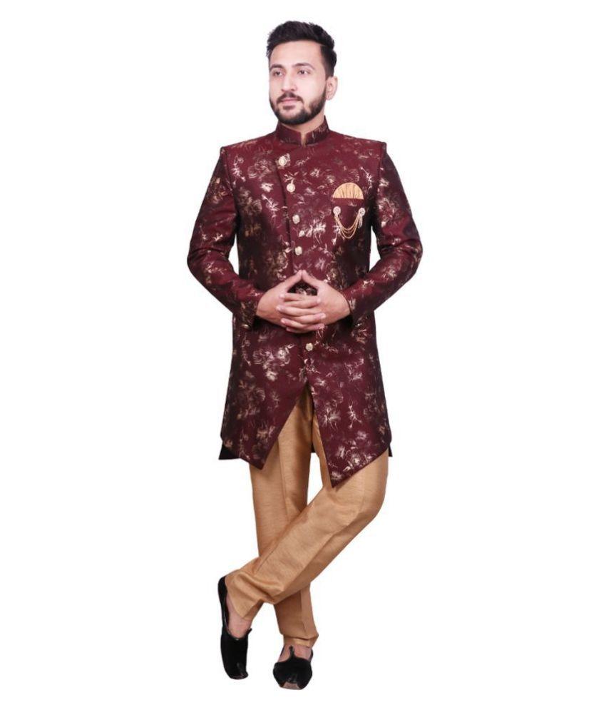 SG RAJASAHAB Maroon Cotton Blend Sherwani