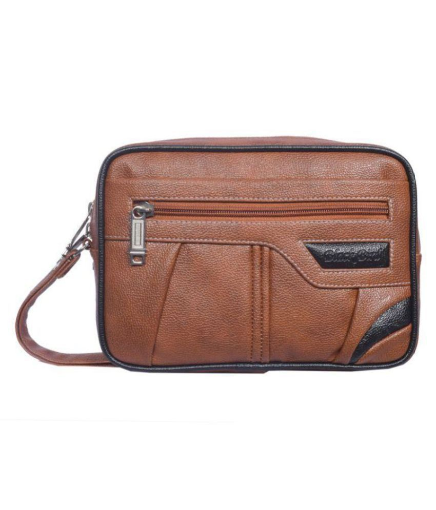 Black Bird Tan Synthetic Office Messenger Bag