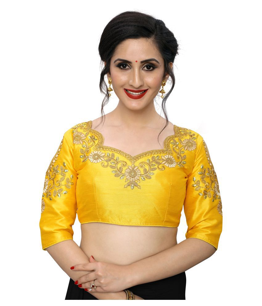 Amrutam Fab Yellow Lycra Semi Stitched Blouse