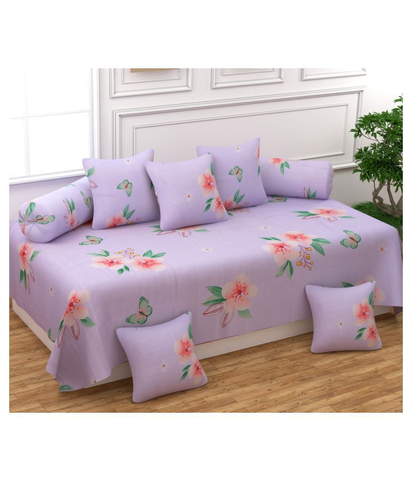 Multitex Poly Cotton Purple Floral Diwan Set 8 Pcs