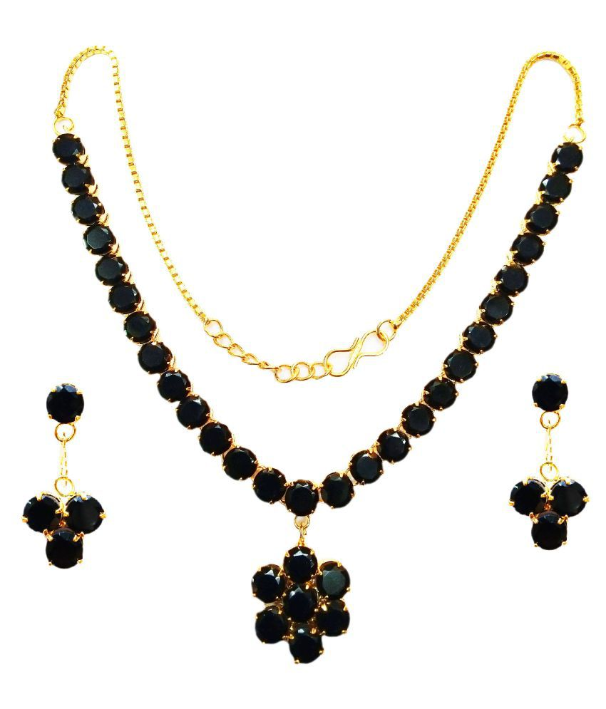 VINAYAKJEWELLERS Alloy Black Contemporary Contemporary/Fashion 18kt Gold Plated Necklaces Set