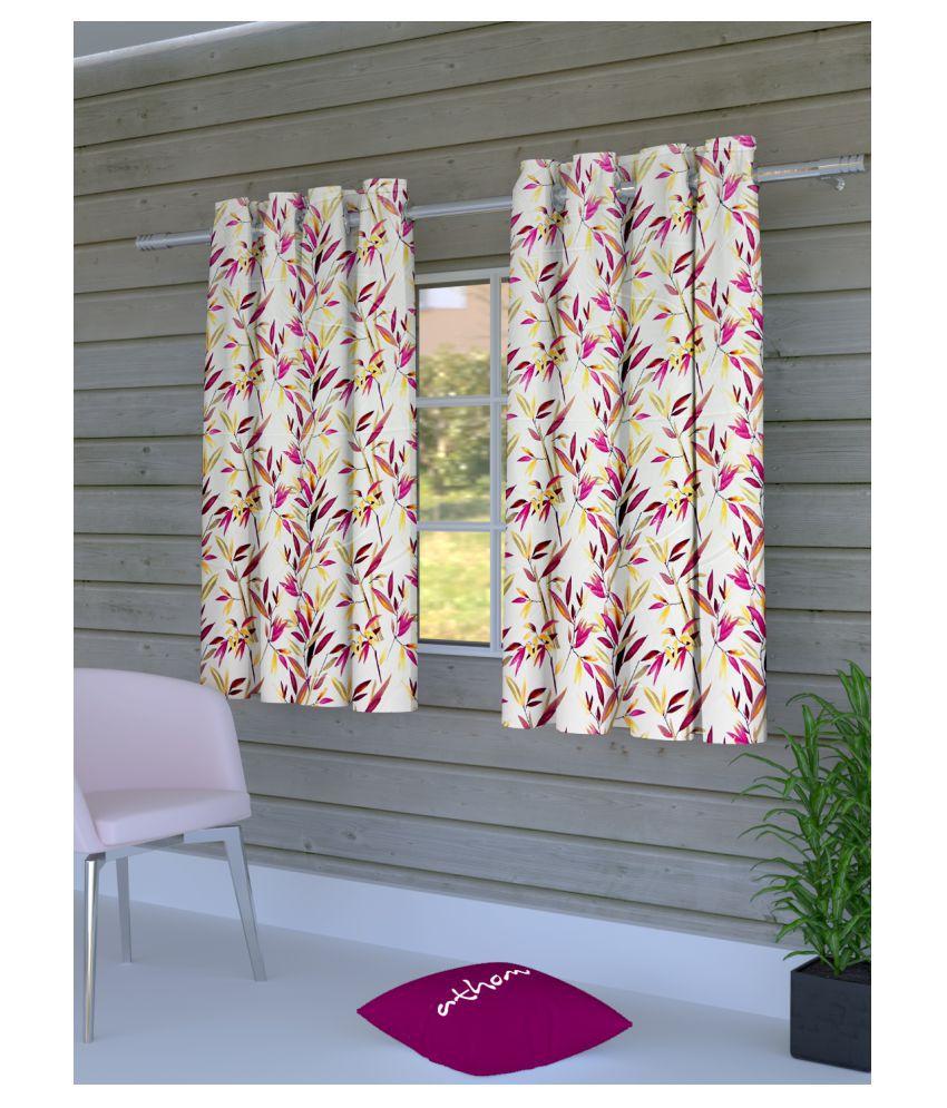 Athom Trendz Set of 2 Window Semi-Transparent Eyelet Polyester Curtains Multi Color