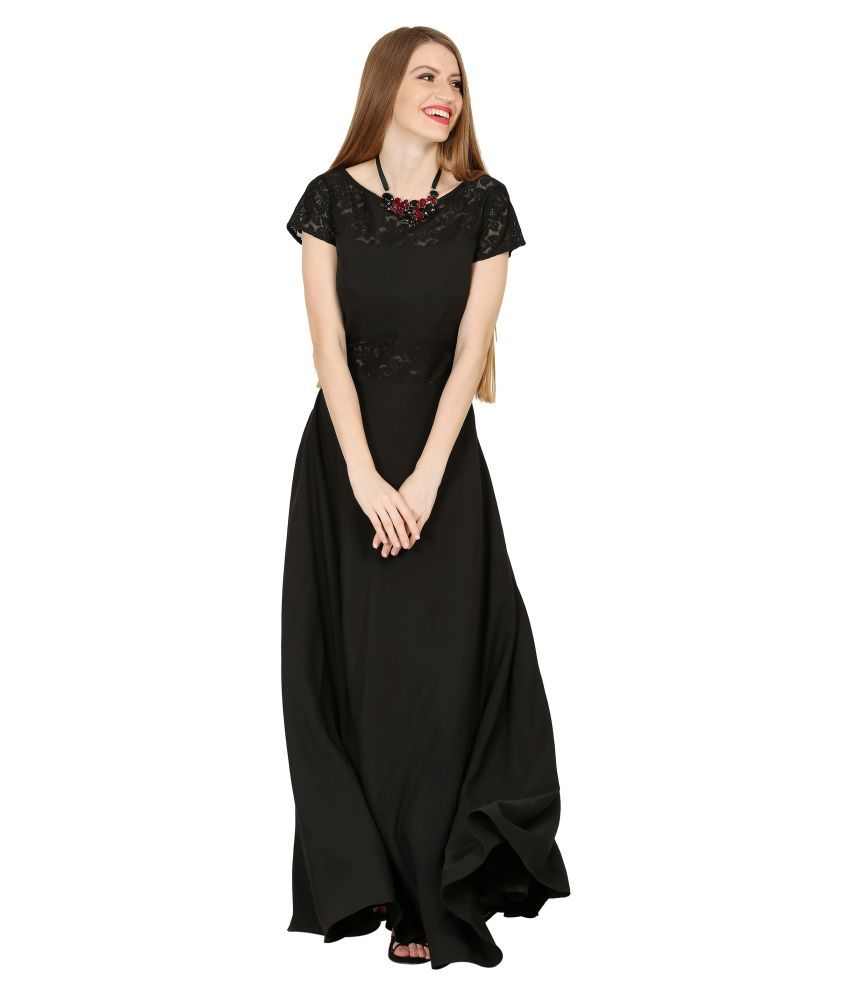 Raas Crepe Black Fit And Flare Dress