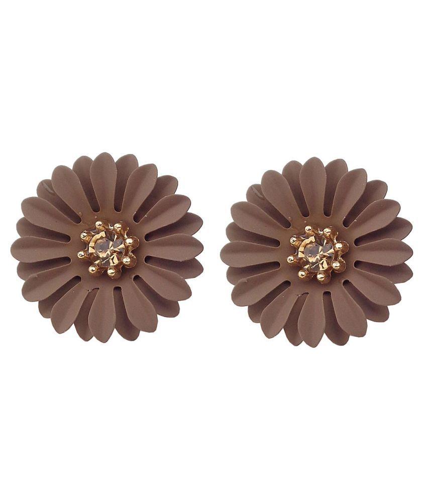 Trendeela Seher Beguiling Pair Of Brown Floral Stud Earrings