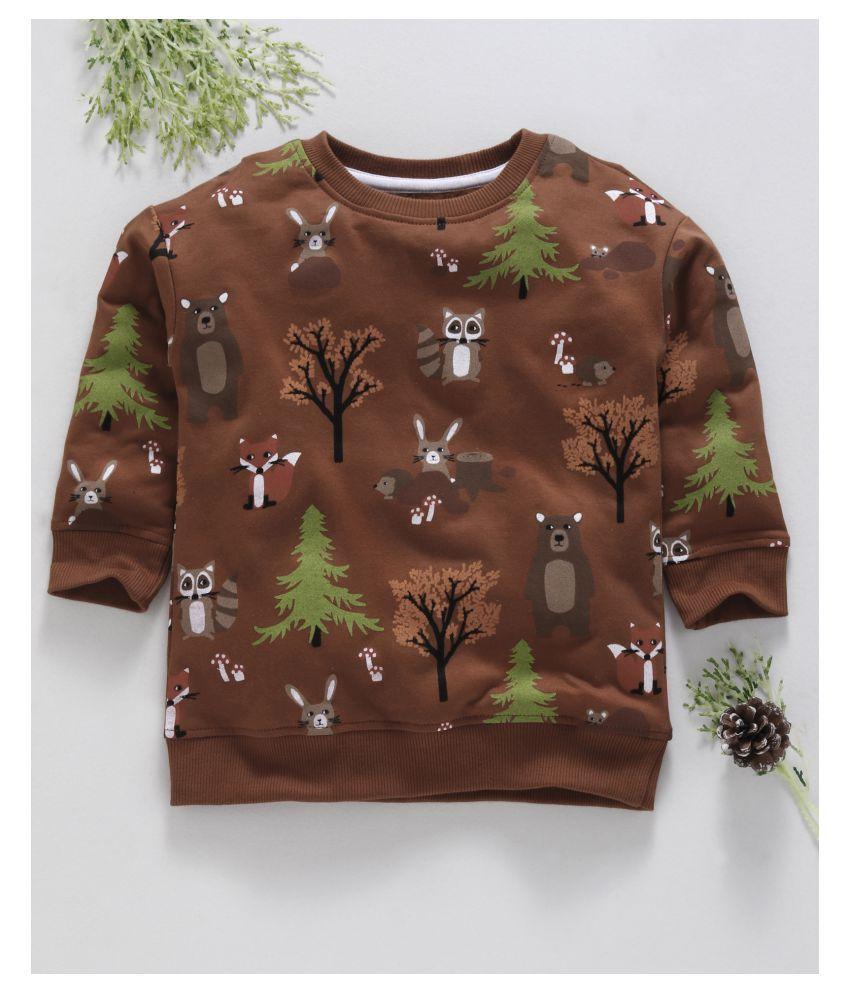 Ventra Boys Bear & Tree Sweat-brown
