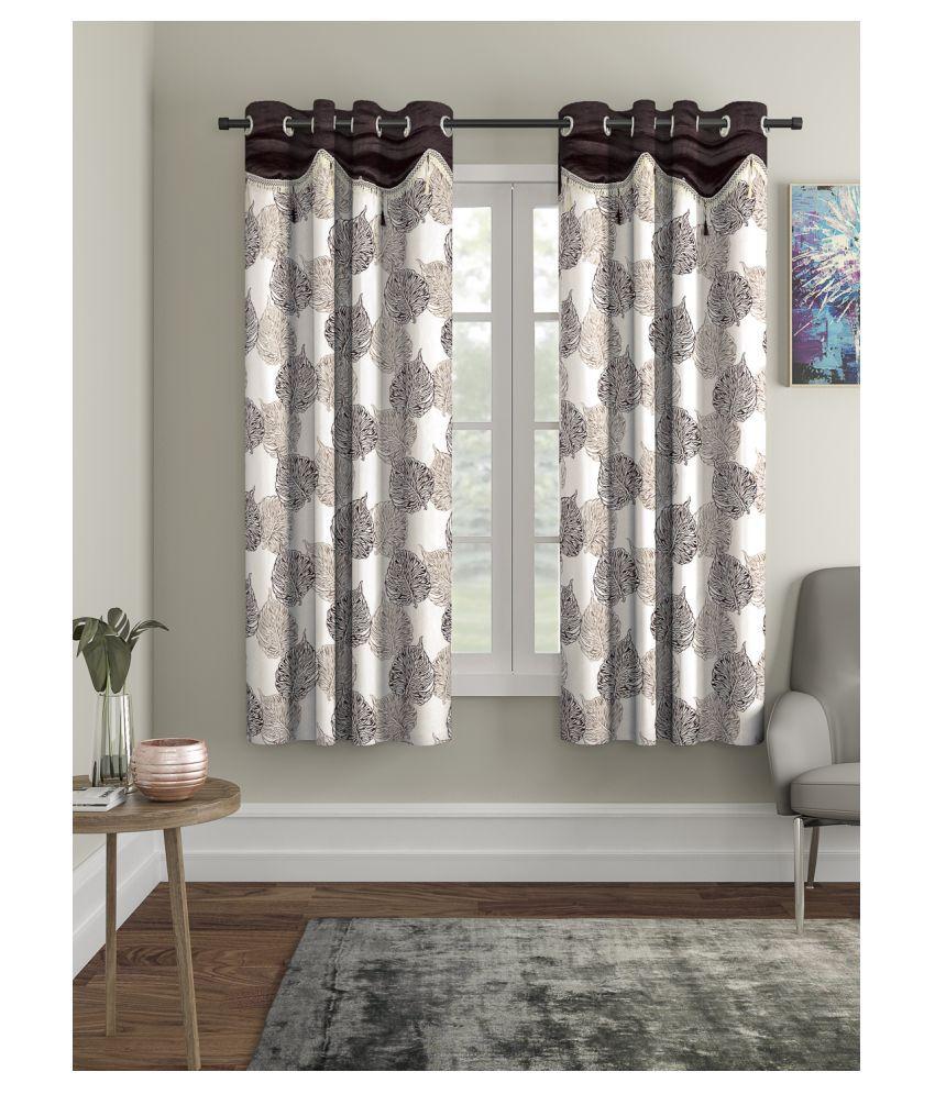 Cortina Set of 2 Window Semi-Transparent Eyelet Polyester Curtains Brown