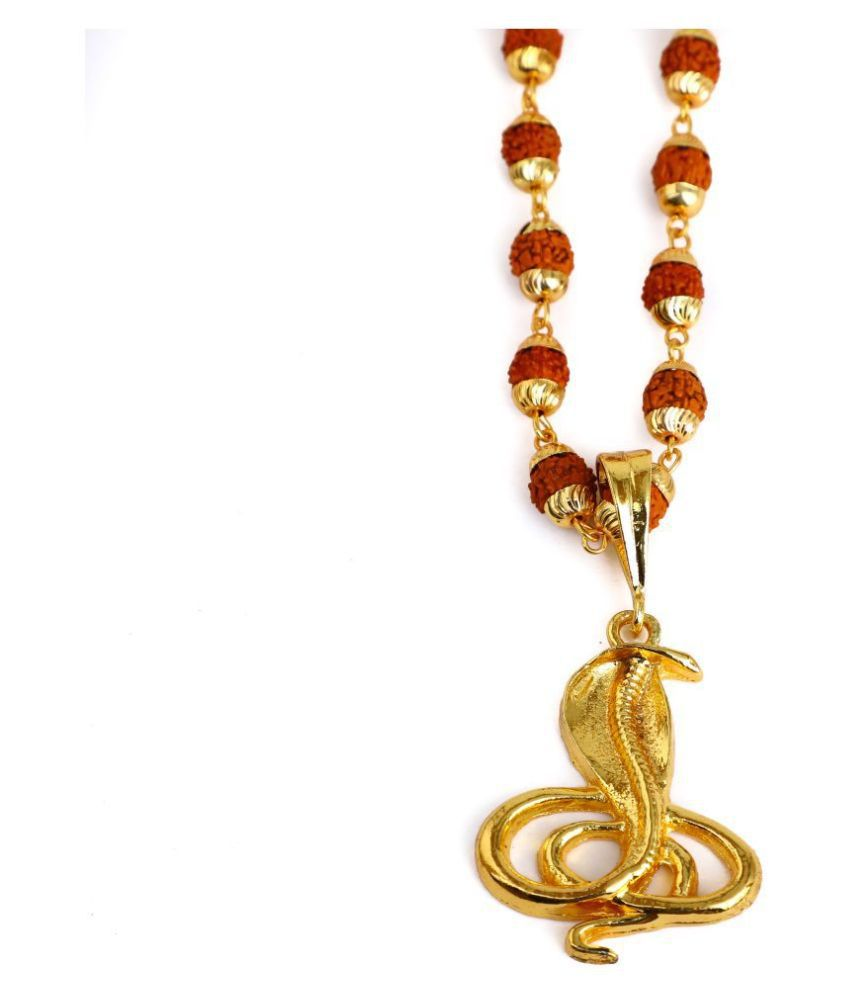 DIPALI Imitation Rudraksh Mala With Gold Plated NAG DEVTA Inspired Pendant Set For Men BoyS