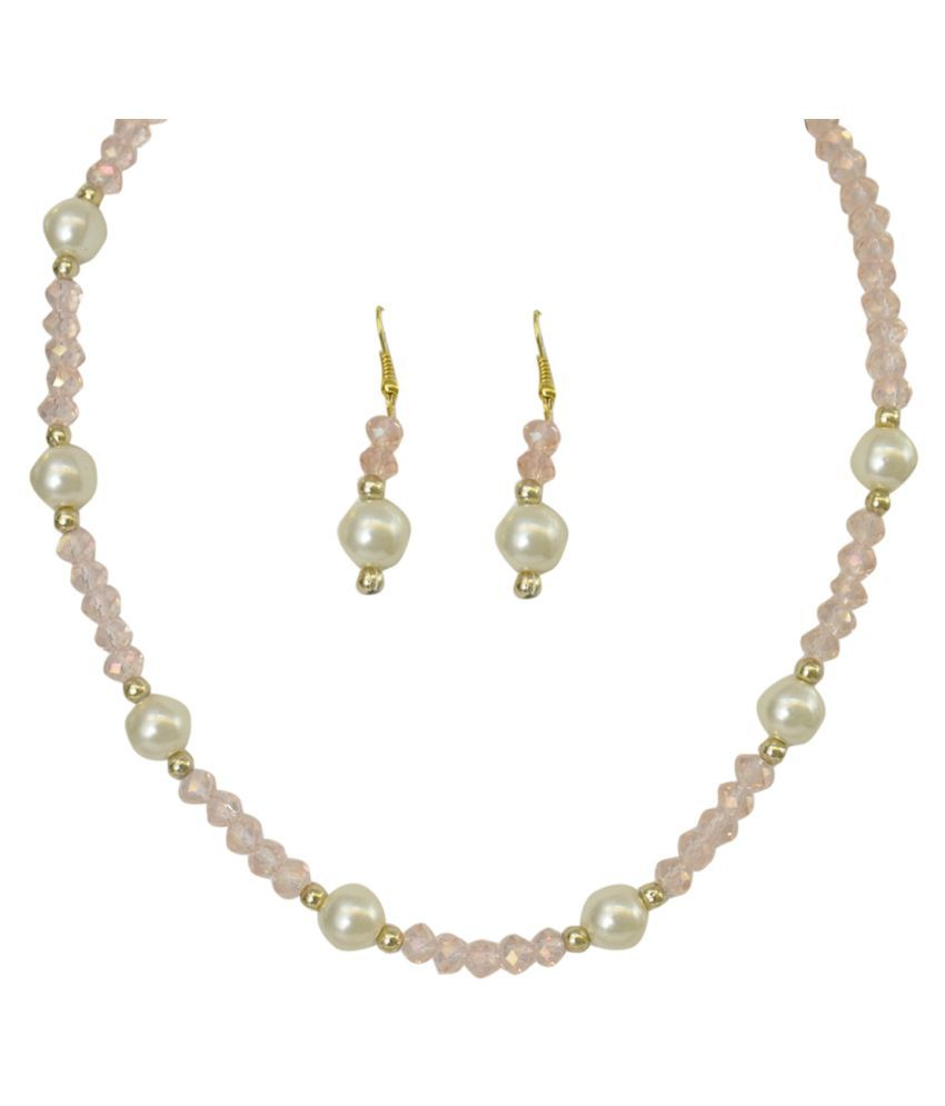 sharma pearls and jewellers Pearls Multi Color Other Designer Gold Plated Necklaces Set