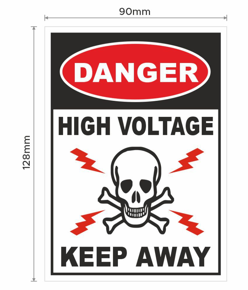 Danger High Voltage Keep Away with Graphic Signage Sticker for Electrical Industry Safety Purpose