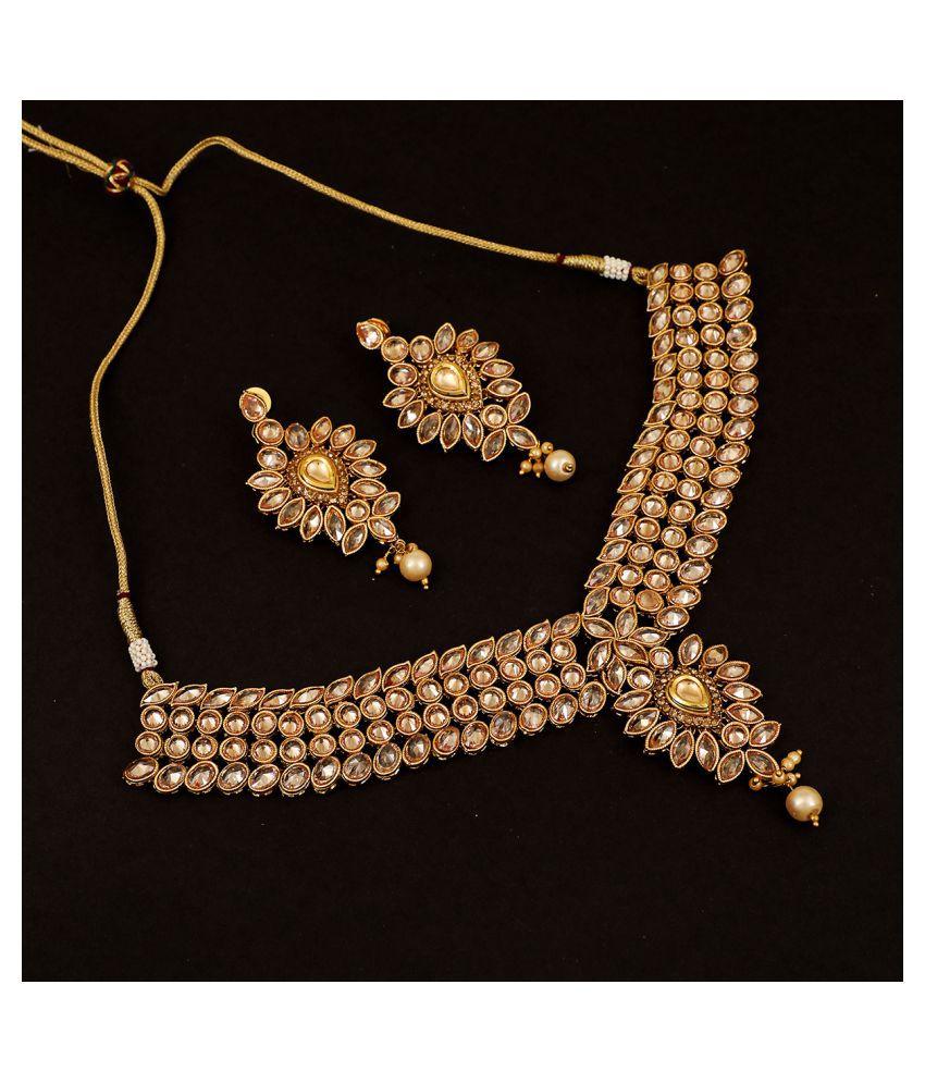 Piah Fashion Brass Rose Gold Designer Necklaces Set Collar
