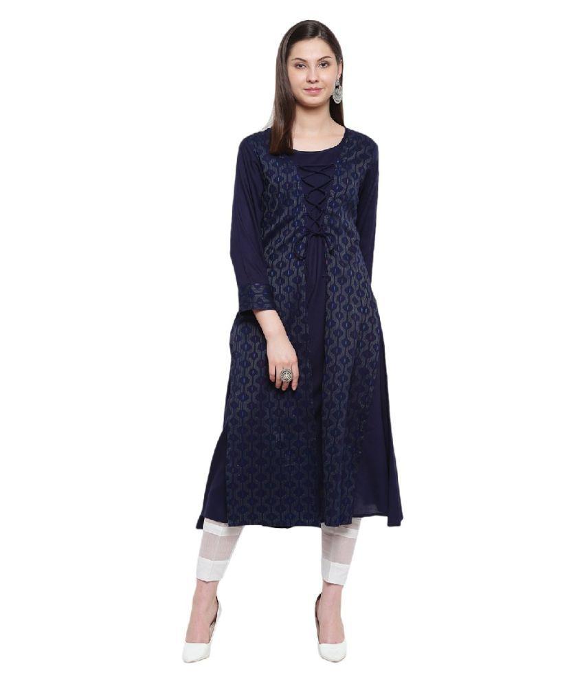 RIVI Rayon Blue Asymmetric dress