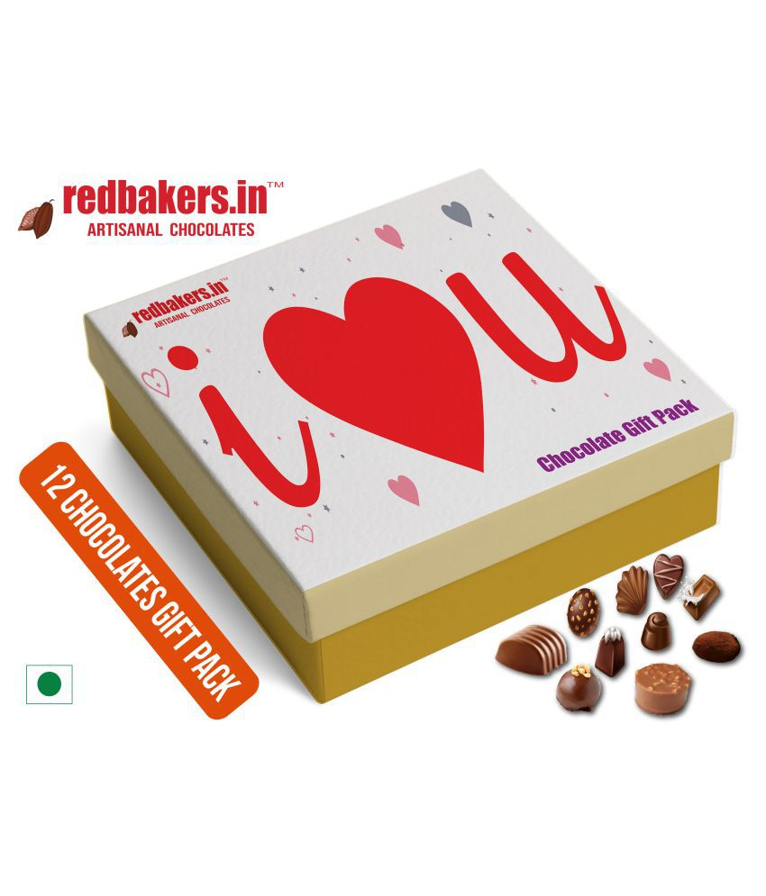 redbakers.in Chocolate Box I Love You English 12Chocolates Pack 180 gm