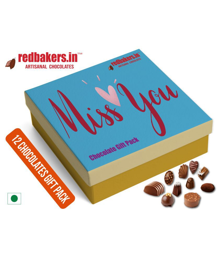 redbakers.in Chocolate Box Miss You 12Chocolates GIFT Pack 180 gm