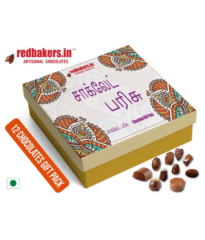 redbakers.in Chocolate Box Tamil 12Chocolates Gift Pack 180 gm