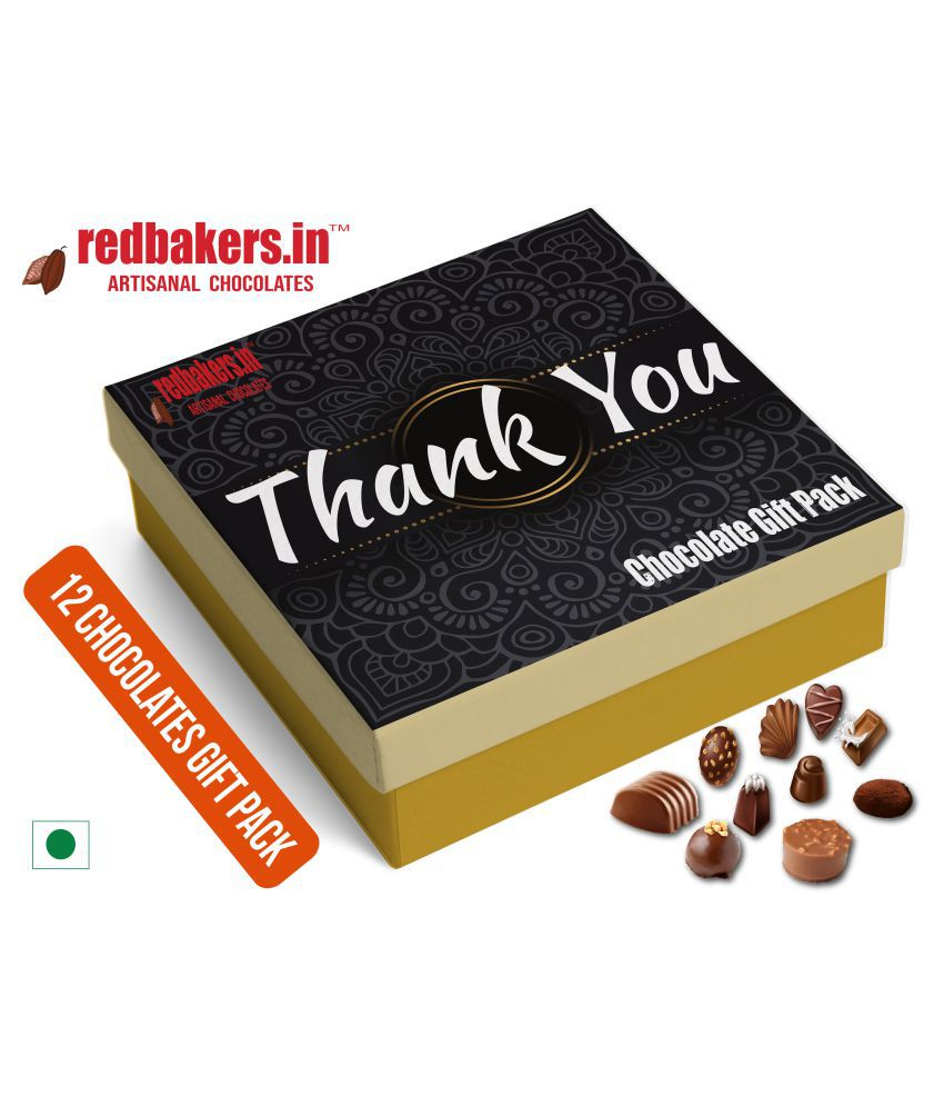 redbakers.in Chocolate Box ThankYou 12Chocolates Gift Pack 180 gm