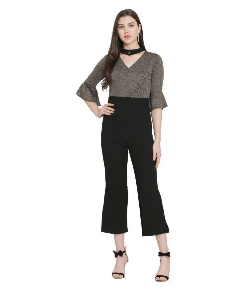FUNKIEZ FASHION Black Poly Cotton Jumpsuit