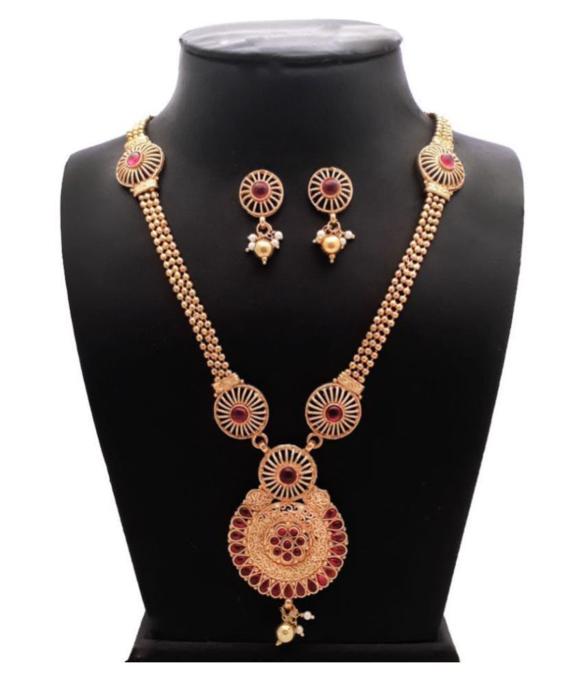 Piah Alloy Red Traditional Necklaces Set Long Haram