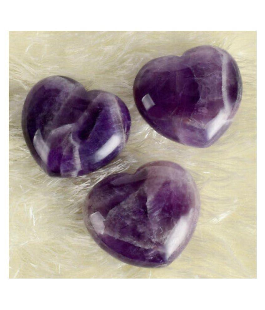 Purple Amethyst Puff Heart Natural Agate Stone Puff Heart (1 Pcs )