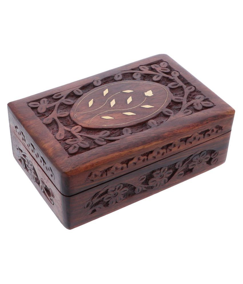 Wooden Trinket Keepsake Box with Carved Flowers