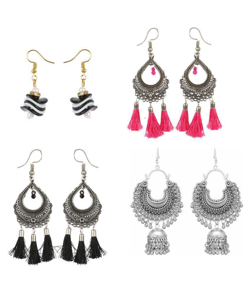 Combo of 4 pair trendy designer Regular Multi tassel and beads afgani chandbali designer jhumki earrings for Girls and women