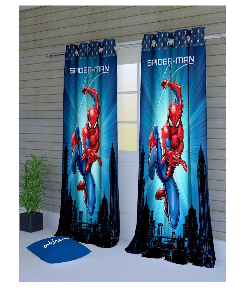 Marvel Set of 2 Door Eyelet Polyester Curtains Blue