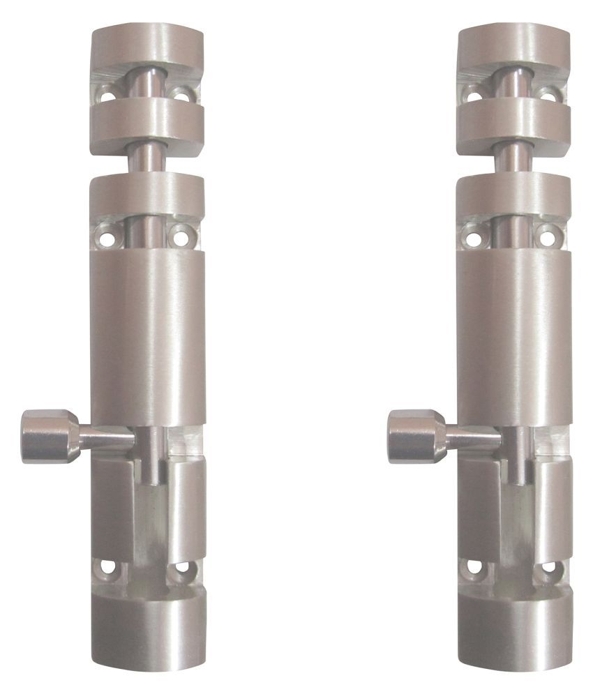 Life Vision Half Round Style Zaylo (Aluminium Body with Steel Rods and Knob) Tower Bolts 15 inch S.S. Finish Pack of 2 Pcs.
