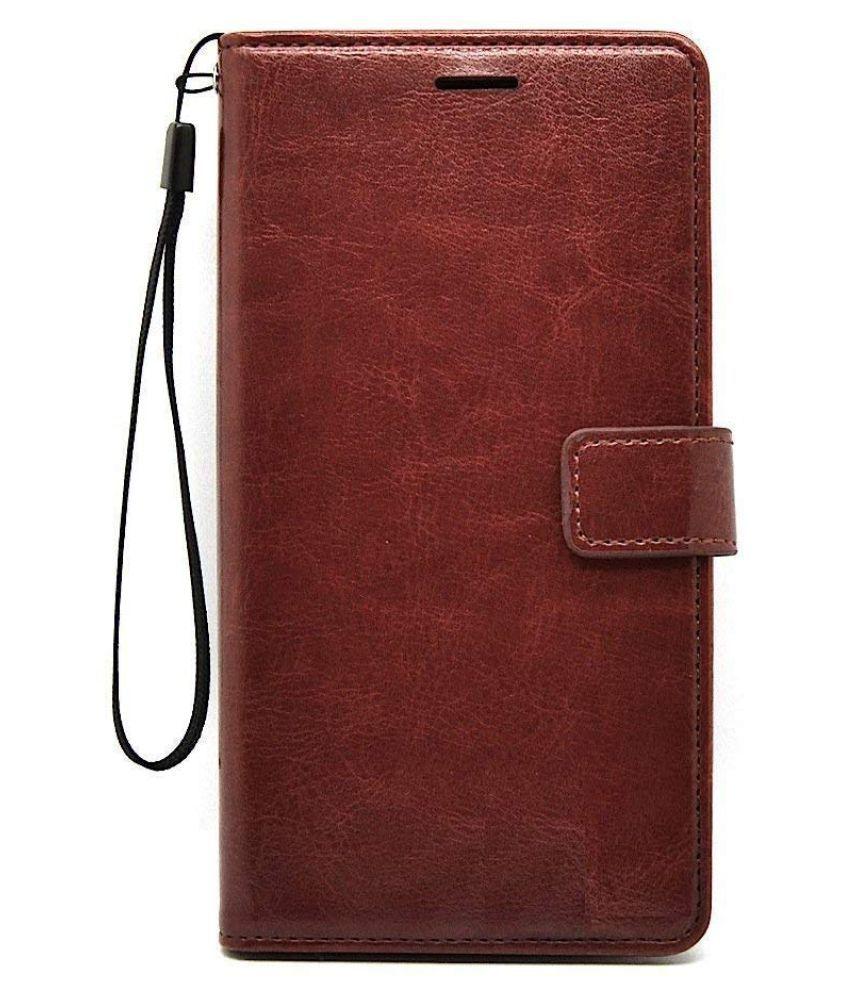 Xiaomi MI A1 Flip Cover by MobileMantra   Brown Vintage Flip Wallet Case