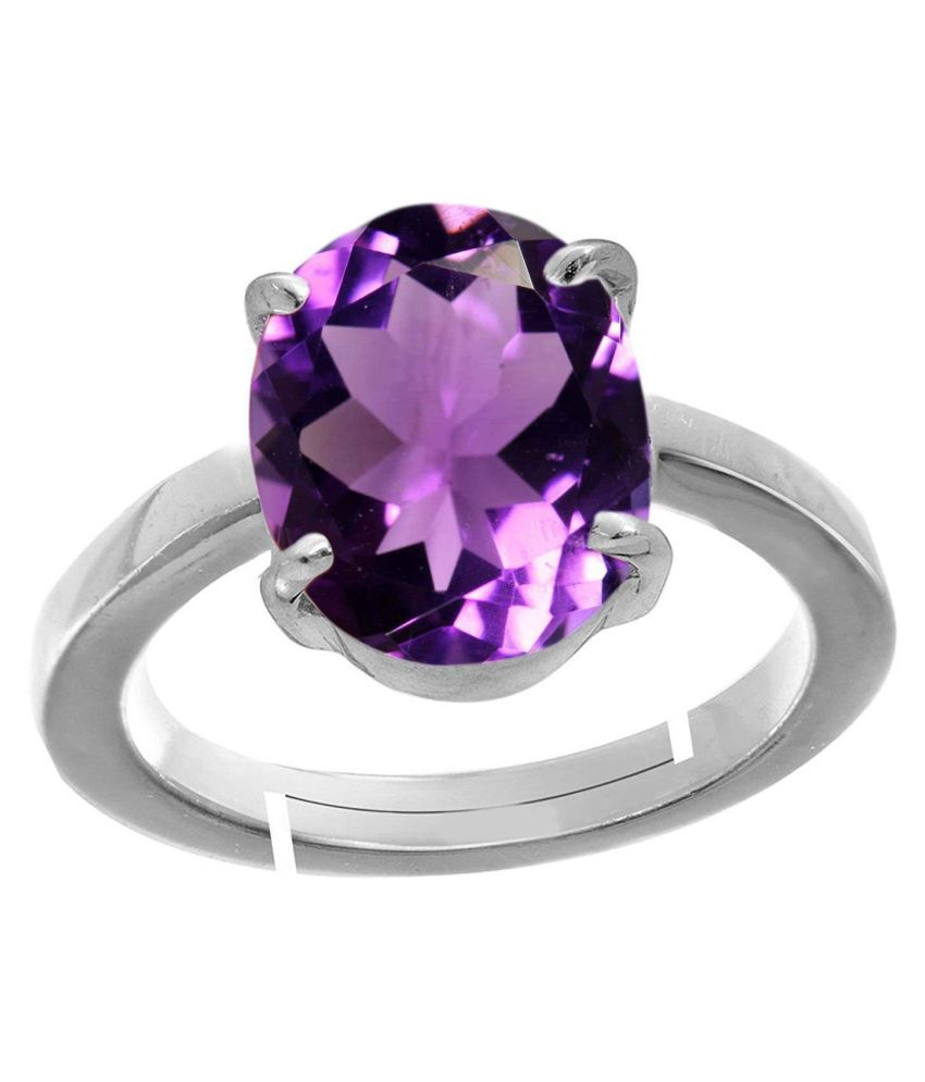 7.25 Ratti Amethyst Purple Crystal Stone Silver with matel Adjustable Ring for Men and Women for Astrological Purpose