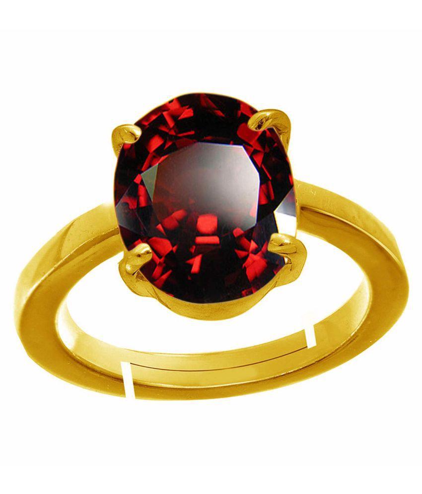 Todani Jems® 4.25 Ratti Gomedhikam  Hessonite Ceylon Gomed Stone with Lab Certified hessonite Garnet+ golden matel  Ring
