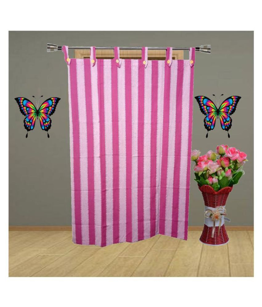 HOMEFLY Single Long Door Blackout Room Darkening Loop Cotton Curtains Pink