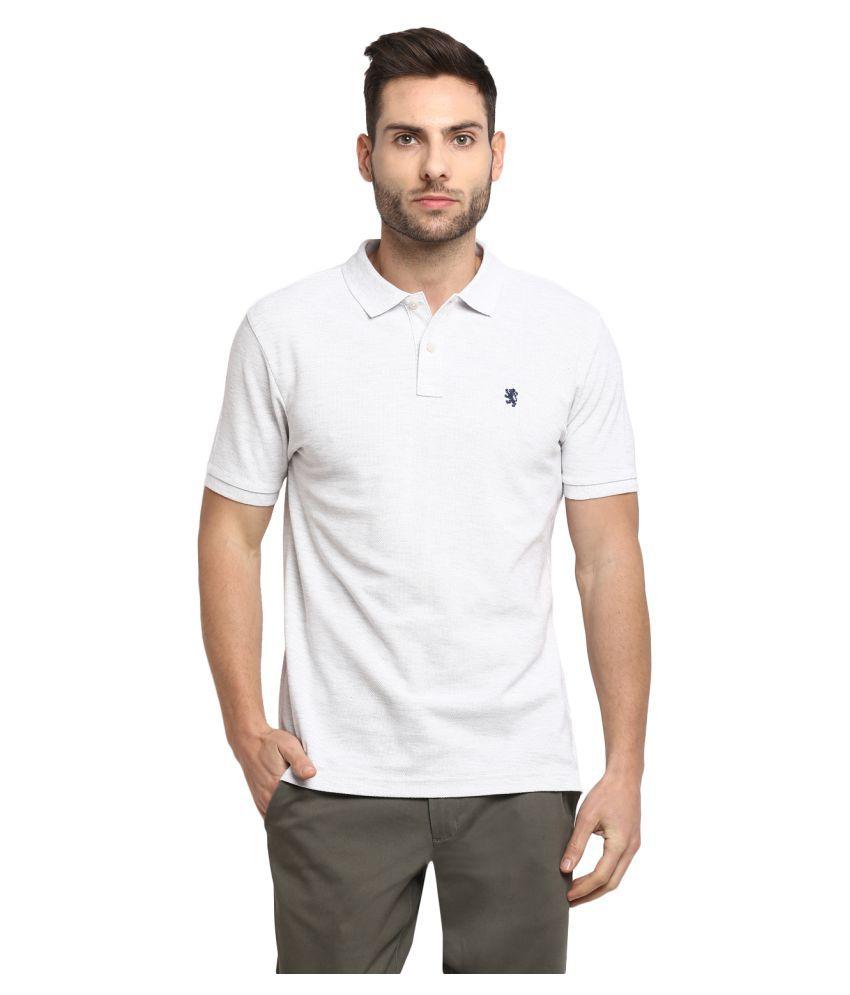 Red Tape Cotton Blend White Plain Polo T Shirt