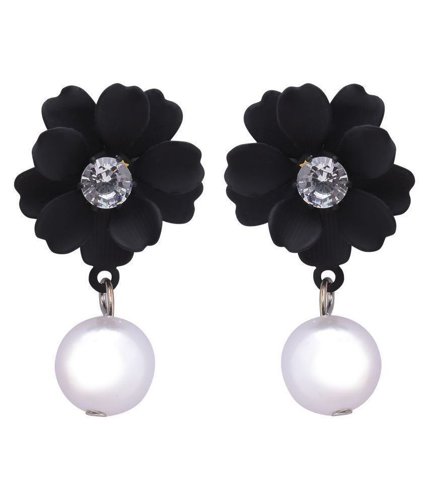 STUDIRA  Alloy Studs  Non Precious Metal Fashion Jewellery Stylish Black-Color Fancy Party Wear Earrings for Girls and Women