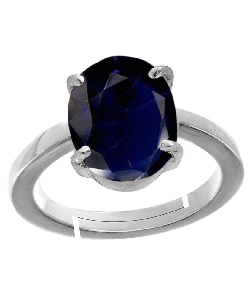 Todani Jems® 7.25 Ratti Certified Blue Sapphire (Neelam) Silver+White Metal KANTA Ring for Men And Women