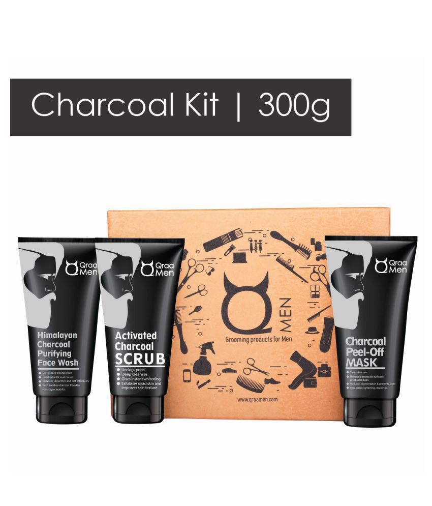 Qraa Men Charcoal Kit: Charcoal Peel-off Mask+ Face Wash + Scrub 300 g Pack of 3