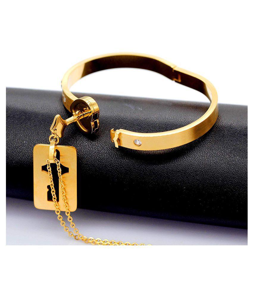 ZIVOM® Arrow Heart Key Lock Gold 316L Surgicl Stainless Steel Kada Bangle Bracelet For Women Pendant Locket Chain For Men Combo Couple Lovers Valentine Gift Set