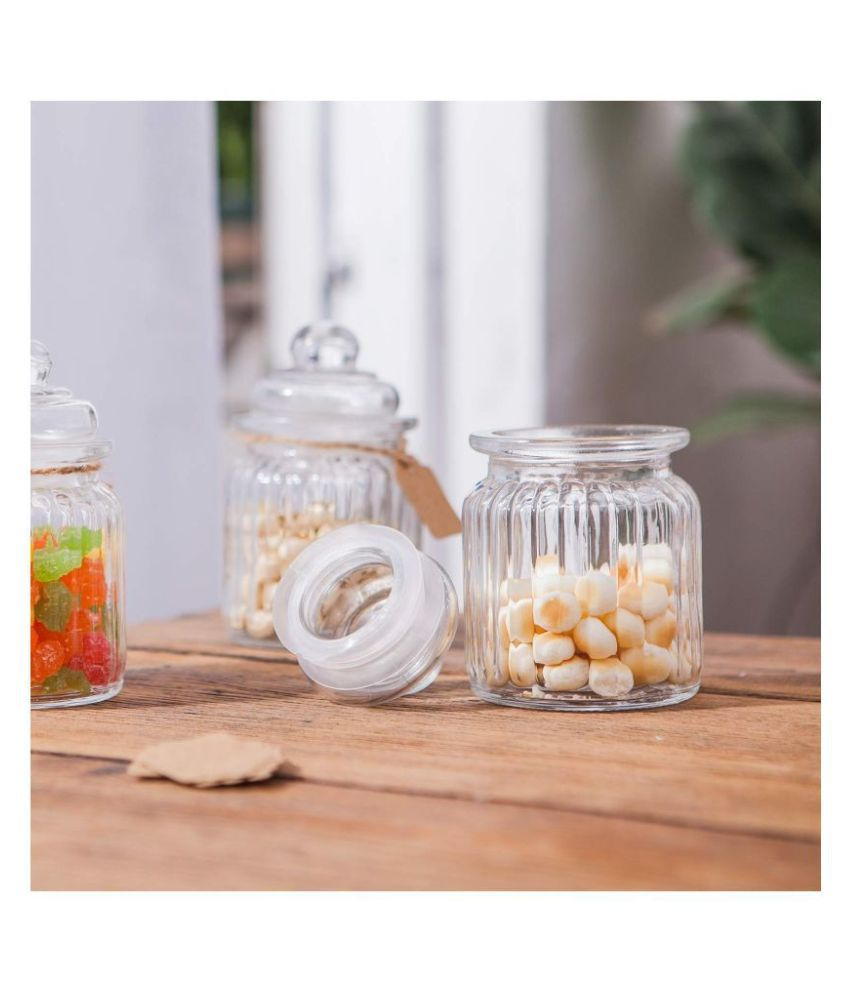 Protetto Glass Pickle Container Set of 6 900 mL